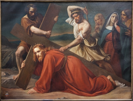 BRUSSELS - JUNE 21: The First Fall of Jesus on the cross way. Paint from church Notre Dame du Finstere by Albert Roberti from 1851 on June 21, 2012 in Brussels.
