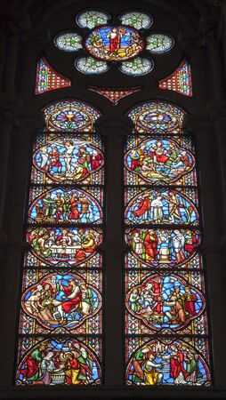 BRUSSELS - JUNE 22: Scene from Jesus life on the windowpane in Saint Michael and Saint Gudula gothic cathedral. Right side of choir restoted in years 1990 to 1999 on June 22, 2012 in Brussels. Stock Photo - 16628726