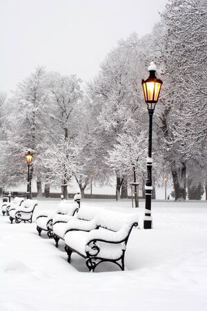 banquette: morning in winter park - bratislava  Stock Photo