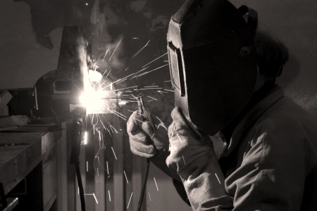 sphincter: welder at work  Stock Photo