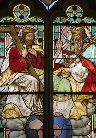katherine: Holy Trinity - window-pane from Banska Stiavnica - st  Katherine church  Editorial
