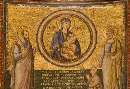 apostle paul: ROME - MARCH 21  Mosiac from Basilica di Santa Maria in Trastevere by Pietro Cavallini  Virgin Mary and Peter and Paul apostle on March, 2012 in Rome