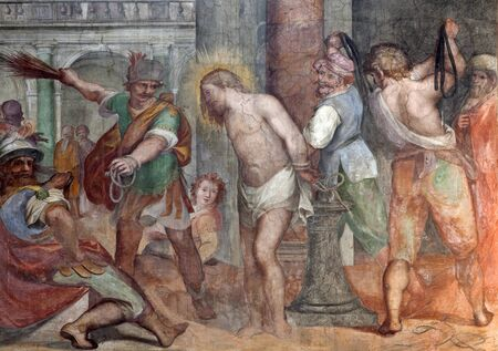 flagellation: Rome - freco of Flagellation of Christ from Santa Prassede church