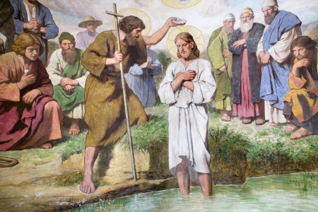 Detail of fresco in Baptistery from Vienna church of st  Franics  Editorial