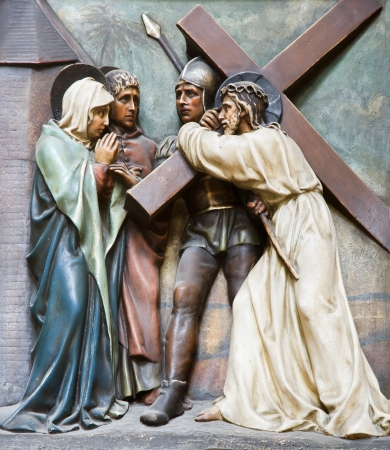 christendom: Vienna - relief Christ with the cross and and mother Mary from st  Francis church  Stock Photo
