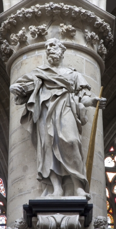 jeune: BRUSSELS - JUNE 22: Statue of st. Jude Taddeus by sculptor Jerome Duquesnoy le Jeune from year 1644 from gothic cathedral of Saint Michael and Saint Gudula on June 22, 2012 in Brussels. Editorial