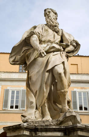 Pisa - Palazzo dell Arcivescovado Courtyard, Moses statue from artist Andrea Vacc� del 1709 Stock Photo - 16885533