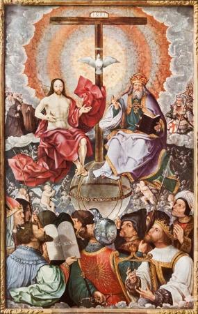 SLOWAKIJE - 1937 Heilige Drievuldigheid in de hemel Lithography print in Missale romanum door paniter J Cornelisz van Oostanen gepubliceerd door Friderici Pustet in het jaar 1937 Redactioneel