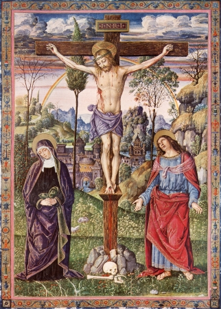 SLOVAKIA - 1937  Crucifixion of Jesus - Virgin Mary and Saint John the Evangelist  Lithography print in Missale romanum painted by Umbrica school published by Friderici Pustet in year 1937