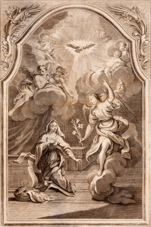 SLOVAKIA - 1768  Annuntiation  Archangel Gabriel and Virgin Mary  Lithography print in Missale romanum published in year 1768