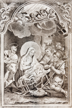 SLOVAKIA - 1727 Nativity Lithography print in Missale romanum published by Venetiis, Nicolaus Pezzan in year 1786