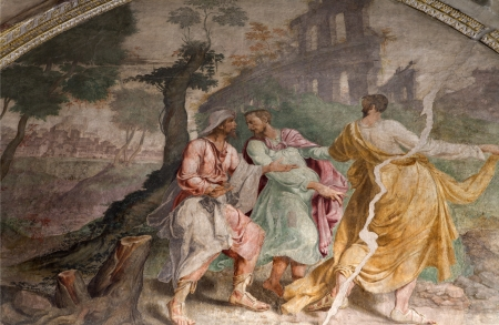 disciple: Milan - Jesus and disciple on the way to Emausy - fresco from church  Editorial