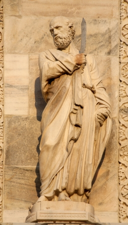 apostle paul: Milan - apostle Paul statue from west facade of Duomo cathedral Stock Photo