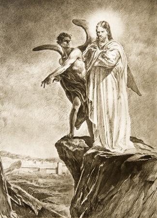 temptations: Temptation of Christ on desert - drawing