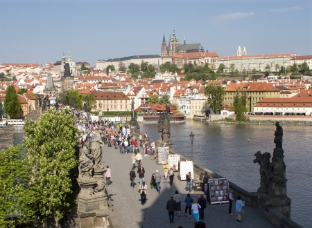 notability: Prague - outlook from Charles bridge tower to castle