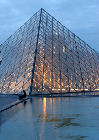 Pyramid of Louvre - Paris - sunset  Stock Photo - 17003490