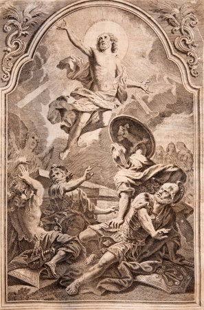 book of revelation: SLOVAKIA - 1727  Resurrection  Lithography print in Missale romanum published by Venetiis, Nicolaus Pezzan in year 1768  Editorial
