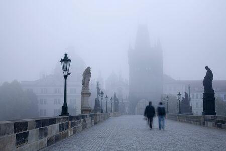 Prague - Charles bridge in the morning fog Stock Photo - 17267342