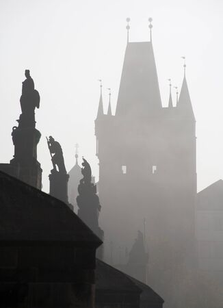 Prague - Charles bridge in the morning fog  Stock Photo - 17267265