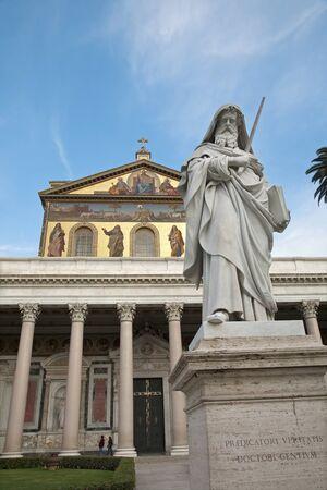 christendom: Rome - st  Paul s satatue for st  Paul basilica - St  Paolo fuori le mura basilica  Stock Photo