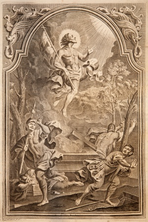 book of revelation: SLOVAKIA - 1768: Resurrection. Lithography print in Missale romanum published by Venetiis, Nicolaus Pezzan in year 1768.