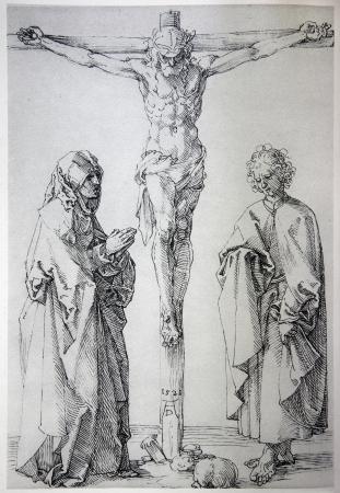"durer: GERMANIA - 1928: Litografia di Ges� sulla croce di Albert Durer. Libro ""Durer als Fuhrer"" edito da Josef Muller, Munchen, Garmany 1928."