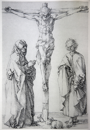 GERMANY - 1928: Lithography of Jesus on the cross by Albert Durer. Book ' Durer als Fuhrer' published by Josef Muller, Munchen, Garmany 1928.