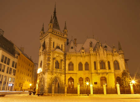 neo gothic: Kosice - neo gothic Jakab s palace in winter evening