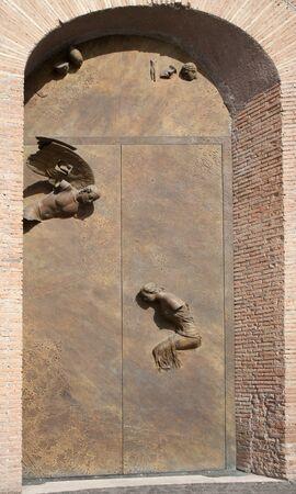 Angeli: ROME - MARCH 20: Modern gate of basilica Santa Maria degli Angeli e dei Martiri by sculptor Igor Mitoraj on March 20, 2012 in Rome.