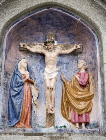 religiosity:  Christ on the cross from Mariazell cross way - ceramic  Stock Photo