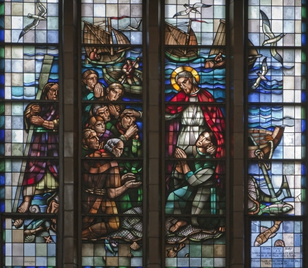 BRUSSELS - JUNE 22: Miracle fishing from windowpane of National Basilica of the Sacred Heart built between years 1919 - 1969 on June 22, 2012 in Brussels.