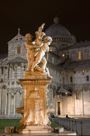 Pisa - statue of angles and cathedral in the night - piazza dei miracoli  Stock Photo - 17366373