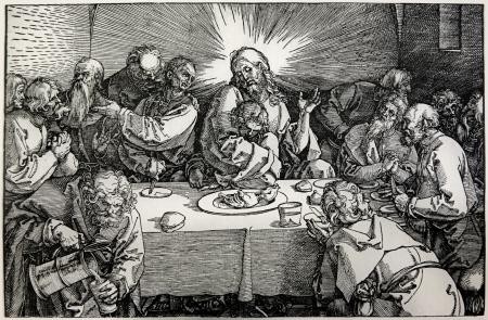 durer: GERMANIA - 1928 Litografia di Ultima cena di Cristo di Albert Durer Prenota Durer als Fuhrer pubblicato da Josef Muller, Munchen, Garmany 1928
