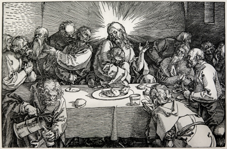 last supper: GERMANY - 1928  Lithography of Last supper of Christ by Albert Durer  Book   Durer als Fuhrer  published by Josef Muller, Munchen, Garmany 1928