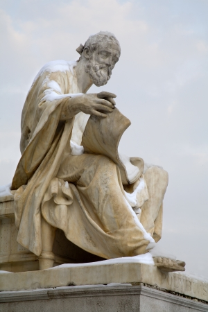 Vienna - Thucydides philosopher statue for parliament in winter  Editorial