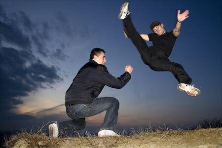 congruence:  karate training in evening  Stock Photo