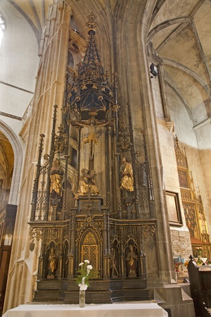neo gothic: KOSICE - JANUARY 3: Side neo gothic altar from 19. cent. in Saint Elizabeth gothic cathedral on January 3, 2013 in Kosice, Slovakia.
