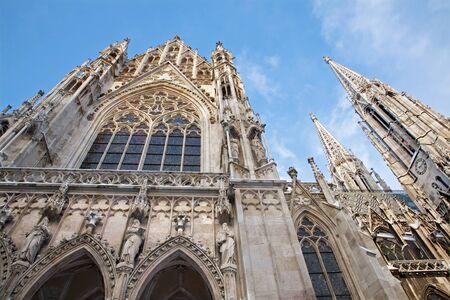 neo gothic: Vienna - Votivkirche neo - gothic church from south Stock Photo