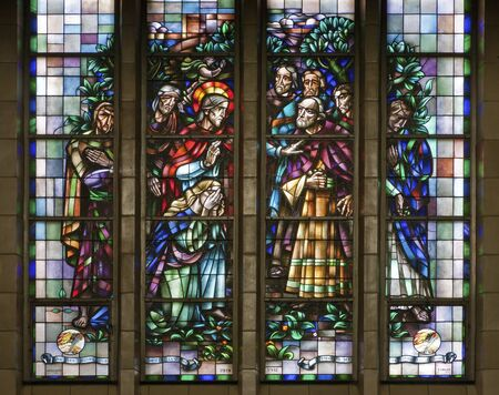 sinful: BRUSSELS - JUNE 22  Jesus rescues the sinful woman  Windowpane in National Basilica of the Sacred Heart built between years 1919 - 1969 on June 22, 2012 in Brussels
