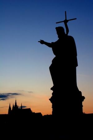 Prague - st  John the Baptist statue - silhouette Stock Photo