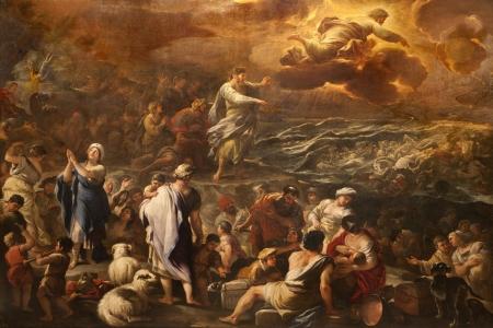 BERGAMO - 26 gennaio Passaggio del Mar Rosso di Luca Giordano Crossing forma vernice Mar Rosso chiesa di Santa Maria Maggiore, il 26 gennaio 2013, a Bergamo, Italia Archivio Fotografico - 17776898