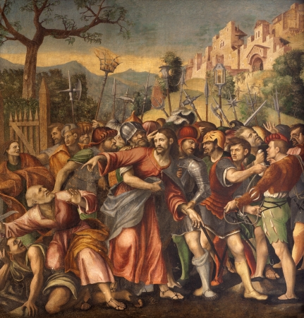 betray: VERONA - JANUARY 27  Captivity of Christ or Arresto di Gesu by N  Giolfino  1476 - 1555  from Avanzi Chapel in San Bernardino church on January 27, 2013 in Verona, Italy