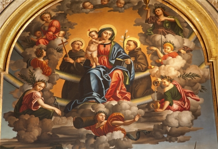 bernardino: VERONA - JANUARY 27  Virgin Mary with the st  Anthione and st  Francis  Detail of paint by Paolo Morando 1522 in San Bernardino church and st  Francis chapel on January 2,  2013 in Verona, Italy
