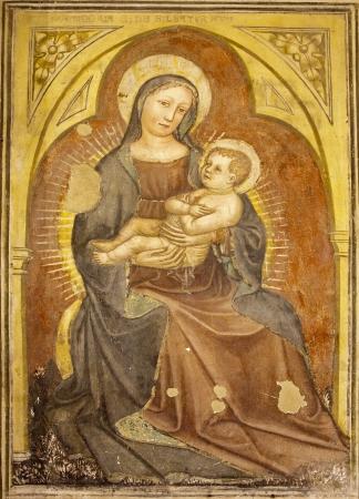 VERONA - JANUARY 27  Madonna fresco from 12  - 15  cent  by anonym author in Basilica di San Zeno on January 27, 2013 in Verona, Italy