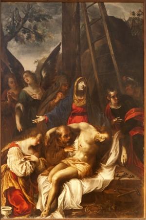 deposition: VERONA - JANUARY 28  Deposition from the cross by Giovanni B  Barchi 1638 in Capella della Madonna in church San Fermo Maggiore on January 28, 2013 in Verona, Italy