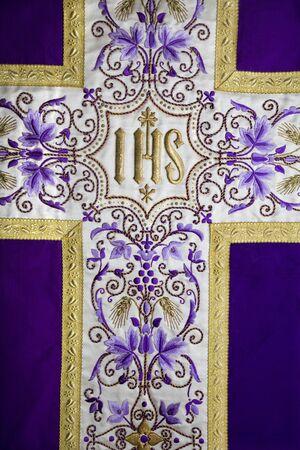 vestment:  detail of vestment - violet