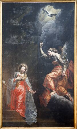 BRUSSELS - JUNE 21  Annunciation by unknow autor from 17  cent  in church of Saint John the Baptist on June 21, 2012 in Brussels