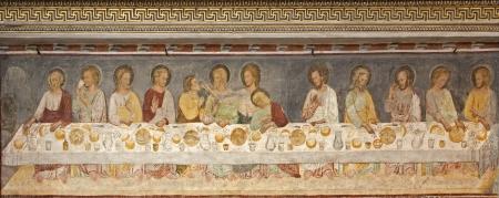 BERGAMO - JANUARY 26  Giottesque medieval fresco of Last Supper,   Ultima Cena , from 14  cent  in Basilica di Santa Maria Maggiore on January 26, 2013 in Bergamo, Italy
