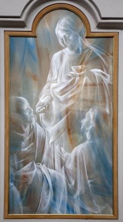 deg: ROME - MARCH 20  Jesus and eucharity  Detail of modern fresco from basilica Santa Maria degli Angeli e dei Martiri on March 20  2012 in Rome