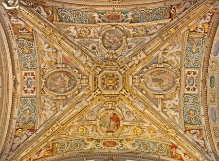nave: BERGAMO - JANUARY 26  Ceiling of side nave from cathedral Santa Maria Maggiore on January 26, 2013 in Bergamo, Italy  Editorial